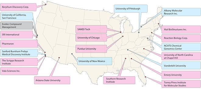 Map showing the Dedicated Centers of the Chemical Biology Consortium (CBC)
